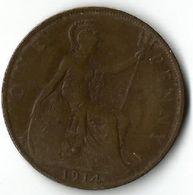 Pièce De Monnaie 1 Penny 1914 - 1902-1971 : Post-Victorian Coins