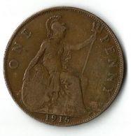 Pièce De Monnaie 1 Penny 1915 - 1902-1971 : Post-Victorian Coins