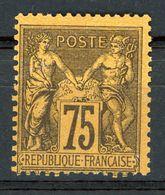 N°99 75 CT VIOLET SUR ORANGE NEUF GOMME D'ORIGINE AVEC CHARNIERE *. Cote 375 €. B/TB. - 1876-1898 Sage (Type II)