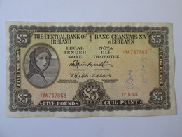 Rare! Ireland  5 Pounds 1968 Banknote - Ireland