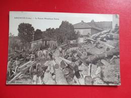 CPA 42 ARCINGES LA SCIERIE MECANIQUE DESTRE TRONCS D'ARBRES - France