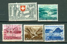 Suisse 1952 Yv 521/25 (o),  Mi 570/74 (o) - Oblitérés