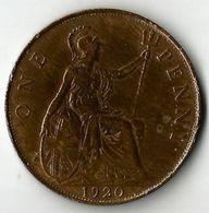 Pièce De Monnaie 1 Penny 1920 - 1902-1971 : Post-Victorian Coins