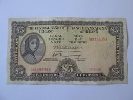 Rare! Ireland  5 Pounds 1969 Banknote - Ireland