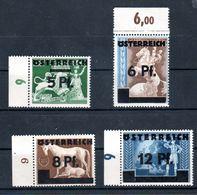 """Österreich 1945: II.Wiener Aushilfsausgabe"""" 664/7 Postfrisch Luxus Mit Randanhang - 1918-1945 1. Republik"""