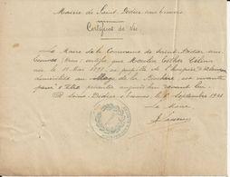 SAINT DIDIER SOUS ECOUVES CERTIFICAT DE VIE MME MOULIN AU VILLAGE DE LA BIOCHERE ANNEE 1921 AVEC CACHET - France