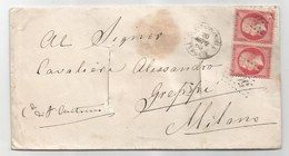 - Lettre - BFE TURQUIE - CONSTANTINOPLE. GC.5083 S/Paire TP Napoléon III N°24 + Càd T.15 + Désinfectée - 1865 - 1862 Napoléon III