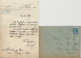 ORSAY G PINON NOTAIRE LETTRE ET ENVELOPPE ENTETE AVEC CACHET ANNEE 1923 - France