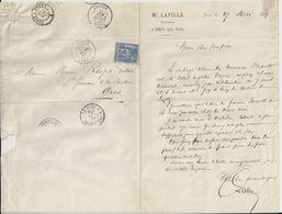 TORCY ME LAFILLE NOTAIRE LETTRE CACHET PARIS DEPART ET PARIS A BREST FAMILLE BRAULT PETIT PAPIER AVEC ENTETE RELIEF 1877 - France