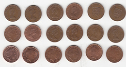 Jersey Coins 1p X 18 Dates 1971 - 2016 Circulated (18 Different Dated Coins) - Jersey
