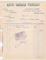 ANNEE 1916 / SALON / AUTO GARAGE PEUGEOT / PLACE GAMBETTA / AMBROISE BRES / FACTURE DE COURSE - Cars