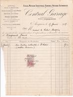 ANNEE 1917 / AVIGNON / CENTRAL GARAGE / 11 BOULEVARD RASPAIL / FACTURE LOCATION LIMOUSINE - Cars