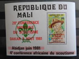 MALI 1981 BLOC Y&T N° 15 ** - 28e CONFERENCE MONDIALE DU SCOUTISME A DAKAR ( SURCHARGE ) - Mali (1959-...)