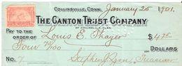 USA Check - The Canton Trust Company, No 7 - 25.01.1901 - Assegni & Assegni Di Viaggio