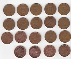 Jersey Coins 2p X 18 Different Dates 1971 - 2016 (18 Different Dated Coins) - Jersey