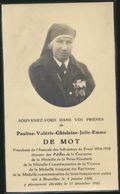 IMAGE MORTUAIRE * PAULINE DE MOT * DECOREE WWII MEDAILLE FRONT FRANCAIS * BRUXELLES 1888-1945 * PHOTO - Obituary Notices