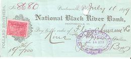 USA Check - National Black River Bank, No 8680 - 11.07.1899 - Assegni & Assegni Di Viaggio