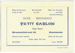 Carte Visite. Ostende. Hôtel-Restaurant. Petit Sablon, Hugo Bryon, Brusselstraat. - Cartes De Visite