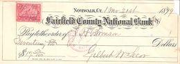 USA Check - Fairfield County National Bank, 21.11.1899 - Assegni & Assegni Di Viaggio