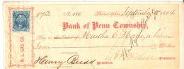 USA Check - Bank Of Penn Township, No 686  15.09.1864 - Assegni & Assegni Di Viaggio