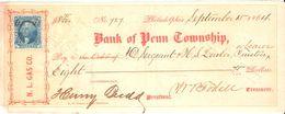 USA Check - Bank Of Penn Township, No 727  15.09.1864 - Assegni & Assegni Di Viaggio