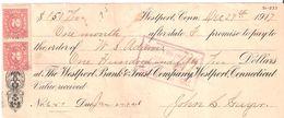 USA Check - The Wesport Bank & Trust Company Westport, Connecticut, No 6157 29.12.1917 - Assegni & Assegni Di Viaggio