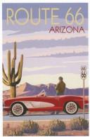 Route 66 Graphic Design, Man With Corvette Sports Car Auto, C2010s Vintage Postcard - Route '66'