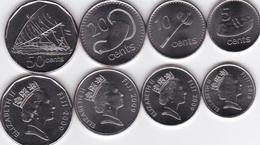 Fiji - Set 4 Coins 5 10 20 50 Cents 2009 - 2010 UNC Lemberg-Zp - Fiji