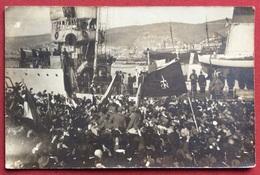 """TRIESTE 1918 ACCOGLIENZA  TRUPPE ITALIANE IN PORTO : SI LEGGE """" Da Trieste Italiana Finalmente Ritrovata...."""" L' 11/XI - 1878-00 Humberto I"""