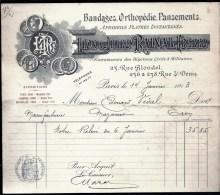 FACTURE OU LETTRE ANCIENNE DE PARIS- 1913 - BANDAGES- ORTHOPEDIE-  PANSEMENTS- BELLE ILLUSTRATION- - Textile & Clothing