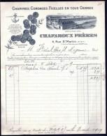 FACTURE OU LETTRE ANCIENNE DE PARIS- 1909- CORDAGES DE MARINE- FICELLES- BELLE ILLUSTRATION USINE ET MEDAILLES- 2 SCANS- - Textile & Clothing