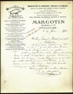 FACTURE OU LETTRE ANCIENNE DE TOULOUSE- 1904- MANUFACTURE BROSSERIE- PINCEAUX- MARTINETS- BELLE ILLUSTRATION- 2 SCANS- - France