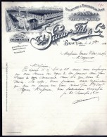 FACTURE OU LETTRE ANCIENNE DE BEAUVAL- 1919- FILATIRE TISSAGE DE JUTE- TRES BELLE ILLUSTRATION- 2 SCANS- - Textile & Clothing