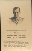 IMAGE MORTUAIRE * NOBLESSE * ROLIN HYMANS * AVIATEUR TUE EN PLEIN CIEL A S'HEEREN-ELDEREN 11/5/1940 * PHOTO - Obituary Notices