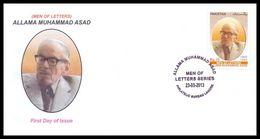 2013 Pakistan Allama Muhammad Asad - Men Of Letters Series FDC - Pakistan