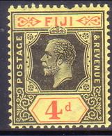 FIJI 1927 SG #235 4d MH Wmk Mult Crown Script CA CV £15 Pulled Tooth - Fidji (...-1970)
