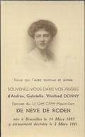 IMAGE MORTUAIRE * NOBLESSE * ANDREE DONNY * EPOUSE LT GRAL CHLIER MAXIMILIEN DE NEVE DE RODEN * 1893-1941 * ADEL - Obituary Notices