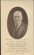 IMAGE MORTUAIRE* DOODSPRENTJE * NOBLESSE/ADEL * PAUL ROLIN HYMANS * GAND 1867 * BRUXELLES 1934 * PHOTO - Obituary Notices