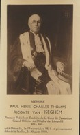 IMAGE MORTUAIRE * NOBLESSE * VICOMTE VAN ISEGHEM * OSTENDE 1851 * IXELLES 1940 * PHOTO - Obituary Notices