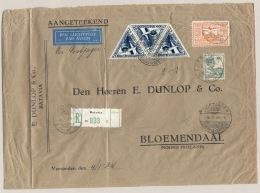Nederlands Indië - 1934 - 3x 30 Cent Luchtpost + 190 Cent Op Zware R-zakenbrief Per Postjager Naar Bloemendaal - Nederlands-Indië