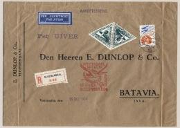 Nederland / Nederlands Indië - 1934 - 2x 30 Cent Luchtpost + 36 Cent Op R-zakenbrief Met Crash-flight Uiver Naar Batavia - Nederlands-Indië