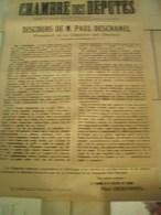 AFFICHE 14/18      CHAMBRE DES DEPUTES DISCOUR DE MR   PAUL DESCHANEL    9090X56      ORIGINALES 14/18 - 1914-18