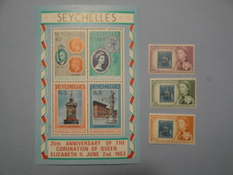 Timbre Sur Timbres Seychelles Yvert BF 10 + 185/7 **  Scott 461a + 195/7 Michel B 10 + 192/4 SG Ms 432 + 193/5 - Stamps On Stamps