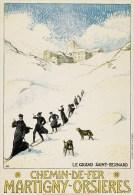 Albert Muret, Martigny-Orsières, Affiche Originale, Chanoines Et Chiens Du Grand-St-Bernard, 1913, état Parfait - Affiches