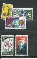 MALI  Scott 104, C36, C37, C38, C39 Yvert 106, PA36, PA37, PA38, PA39 (5) ** Cote 9,00$ 1966 - Mali (1959-...)