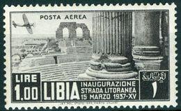LIBIA, LIBYA, COLONIA ITALIANA, ITALIAN COLONY, POSTA AEREA, AIRMAIL, 1937, NUOVO (MNH**), 1 L. Mi. 84   Sass. 30 - Libyen