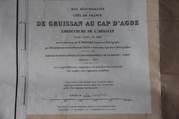 Carte De Gruissan (Aude) Au Cap D'Agde (Hérault) 1957 - Geographical Maps