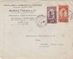 Devant D' Enveloppe Commerciale / Distillerie Et Fabrique De Liqueurs / MURAZ / Pont De Vaux 01 Ain / Casablanca Maroc - Maps