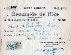 Ancienne Facture Brasserie De Nice, Bière RUBENS 1924 - Food