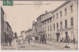 SAINT SYMPHORIEN DE LAY : HOTEL DE LA POSTE - DILIGENCE - MAIRIE - ECRITE EN 1913 - 2 SCANS - - France